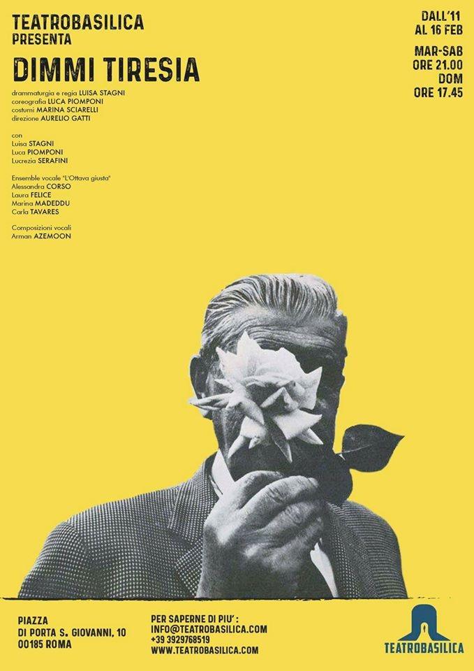 Rassegna stampa Dimmi Tiresia - febbraio 2020, Teatro Basilica Roma